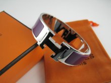 Hermes Purple Enamel Clic H Bracelet Narrow Width (18mm) In Silver