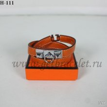 Hermes Rivale Double Wrap Bracelet Orange Silver