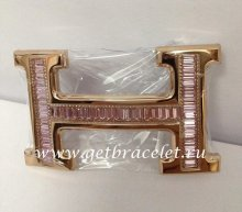 Hermes Reversible Belt 18k Rose Gold With Pink Diamonds H Buckle