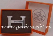 Hermes Reversible Belt 18k Silver Plated H Buckle with Double Full Diamonds