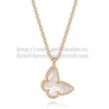 Van Cleef Arpels Lucky Alhambra Butterfly Necklace Pink Gold With White Mother Of Pearl
