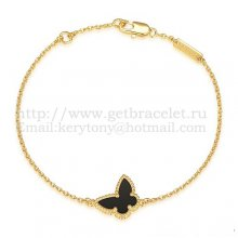 Van Cleef & Arpels Sweet Alhambra Butterfly Bracelet Yellow Gold With Black Agate Mother Of Pearl
