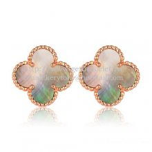 Van Cleef & Arpels Sweet Alhambra Earrings 15mm Pink Gold With Gray Mother Of Pearl