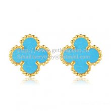 Van Cleef & Arpels Sweet Alhambra Earrings 9mm Yellow Gold With Turquoise Mother Of Pearl