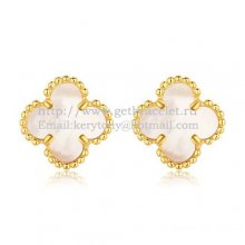 Van Cleef & Arpels Sweet Alhambra Earrings 9mm Yellow Gold With White Mother Of Pearl
