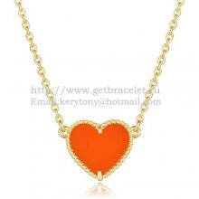 Van Cleef Arpels Sweet Alhambra Heart Pendant Yellow Gold With Red Onyx Mother Of Pearl