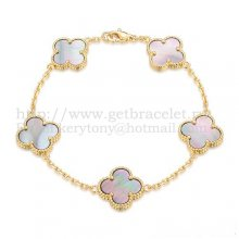 Van Cleef & Arpels Vintage Alhambra Bracelet 5 Motifs Yellow Gold With Gray Mother Of Pearl