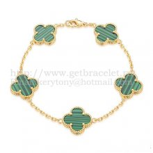 Van Cleef & Arpels Vintage Alhambra Bracelet 5 Motifs Yellow Gold With Malachite Mother Of Pearl