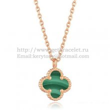 Van Cleef & Arpels Sweet Alhambra Pendant Pink Gold With Malachite Mother Of Pearl 9mm