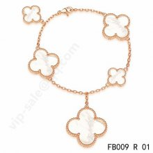 Replica Van Cleef & Arpels Magic Alhambra Bracelet In Pink Gold With Mother-Of-Pearl