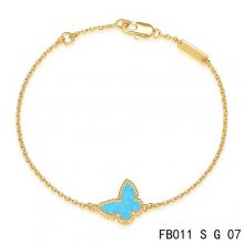 Fake Van Cleef & Arpels Sweet Alhambra Bracelet In Yellow With Blue Butterfly