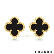 Cheap Van Cleef & Arpels Clover Onyx Yellow Gold Earrings