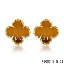 Imitation Van Cleef & Arpels Sweet Alhambra Clover Earrings Yellow Gold,Tiger??S Eye