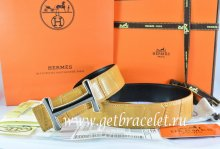 Hermes Reversible Belt Orange/Black Crocodile Stripe Leather With18K Orange Gold Idem Buckle