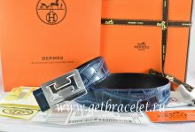 Hermes Reversible Belt Blue/Black Crocodile Stripe Leather With18K Silver Big H Buckle
