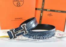 Hermes Reversible Belt Blue/Black Crocodile Stripe Leather With18K Black Silver With Logo H Buckle