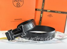 Hermes Reversible Belt Black/Black Crocodile Stripe Leather With18K Black Silver Width H Buckle