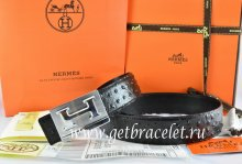 Hermes Reversible Belt Black/Black Ostrich Stripe Leather With 18K Silver Big H Buckle