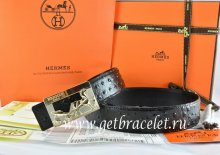 Hermes Reversible Belt Black/Black Ostrich Stripe Leather With 18K Gold Coach Buckle