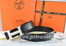 Hermes Reversible Belt Black/Black Ostrich Stripe Leather With 18K White Silver h Buckle