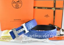 Hermes Reversible Belt Blue/Black Ostrich Stripe Leather With 18K Silver Spot Stripe H Buckle