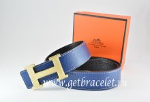 Hermes Reversible Belt Dark Blue/Black Togo Calfskin With 18k Silver Wave Stripe H Buckle