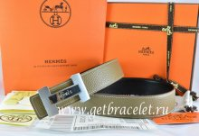 Hermes Reversible Belt Light Gray/Black Togo Calfskin With 18k Silver Logo H Buckle