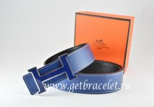 Hermes Reversible Belt Dark Blue/Black Togo Calfskin With 18k Blue Silver H Buckle