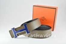 Hermes Reversible Belt Light Gray/Black Togo Calfskin With 18k Blue Silver H Buckle