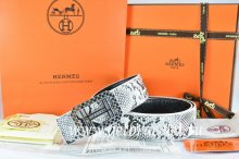 Hermes Reversible Belt White/Black Snake Stripe Leather With 18K Silver Lace Strip H Buckle