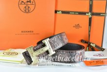 Hermes Reversible Belt Brown/Black Snake Stripe Leather With 18K Gold Geometric Stripe H Buckle