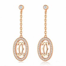 Cartier Logo Double C Earrings in 18K Pink Gold With Diamonds