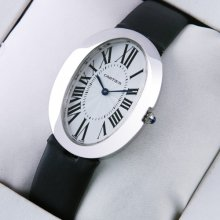 Cartier Baignoire steel large womens watch replica black satin strap