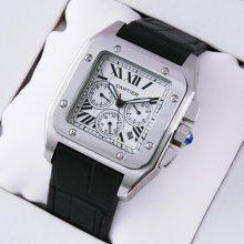 Cartier Santos 100 Chronograph watch for men stainless steel black alligator strap