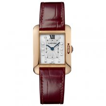 Cartier Tank Anglaise small diamond watch for women WJTA0007 18K pink gold leather strap