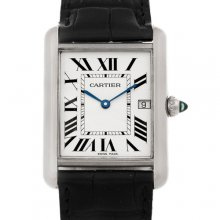 Cartier Tank Louis 18K white gold mens watch replica W1540956 black leather strap
