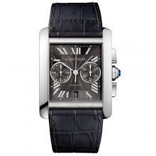 Cartier Tank MC Chronograph mens watch W5330008 steel gray dial black leather strap
