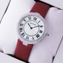 Ronde Solo de Cartier diamond watch for women steel burgundy stain strap
