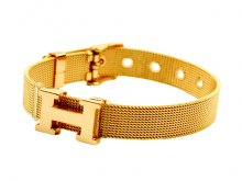 Hermes H Logo Adjustable Band Bracelet Gold