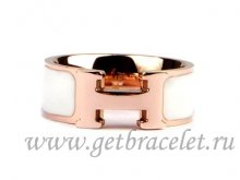 Hermes Enamel Clic H Ring in 18kt Pink Gold with White