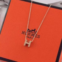 "Hermes ""H"" Necklace Pink Gold"
