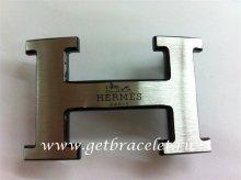 Hermes Reversible Belt 18K Black Silver With Logo Buckle