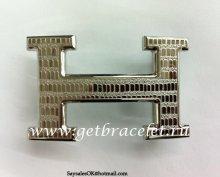 Hermes Reversible Belt 18K Silver Lizards Stripe Buckle