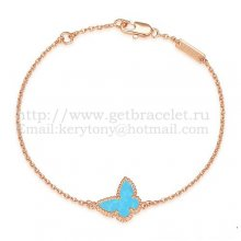 Van Cleef & Arpels Sweet Alhambra Butterfly Bracelet Pink Gold With Turquoise Mother Of Pearl