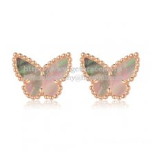 Van Cleef & Arpels Sweet Alhambra Butterfly Earrings Pink Gold With Gray Mother Of Pearl