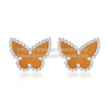 Van Cleef & Arpels Sweet Alhambra Butterfly Earrings White Gold With Tiger's Eye Mother Of Pearl