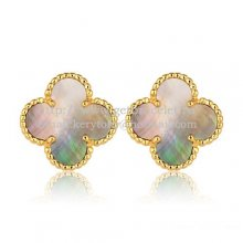 Van Cleef & Arpels Sweet Alhambra Earrings 15mm Yellow Gold With Gray Mother Of Pearl