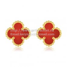 Van Cleef & Arpels Sweet Alhambra Earrings 9mm Yellow Gold With Carnelian Mother Of Pearl