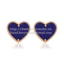 Van Cleef & Arpels Sweet Alhambra Heart Earrings Pink Gold With Lapis Stone Mother Of Pearl