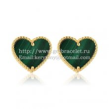 Van Cleef & Arpels Sweet Alhambra Heart Earrings Yellow Gold With Malachite Mother Of Pearl